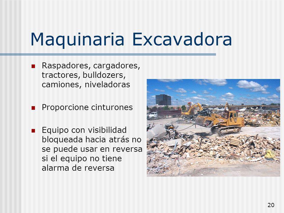 20 Maquinaria Excavadora Raspadores, cargadores, tractores, bulldozers, camiones, niveladoras Proporcione cinturones Equipo con visibilidad bloqueada