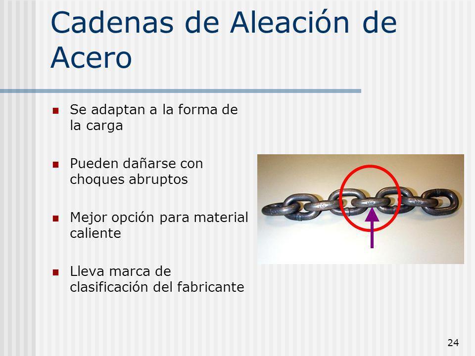 24 Cadenas de Aleación de Acero Se adaptan a la forma de la carga Pueden dañarse con choques abruptos Mejor opción para material caliente Lleva marca
