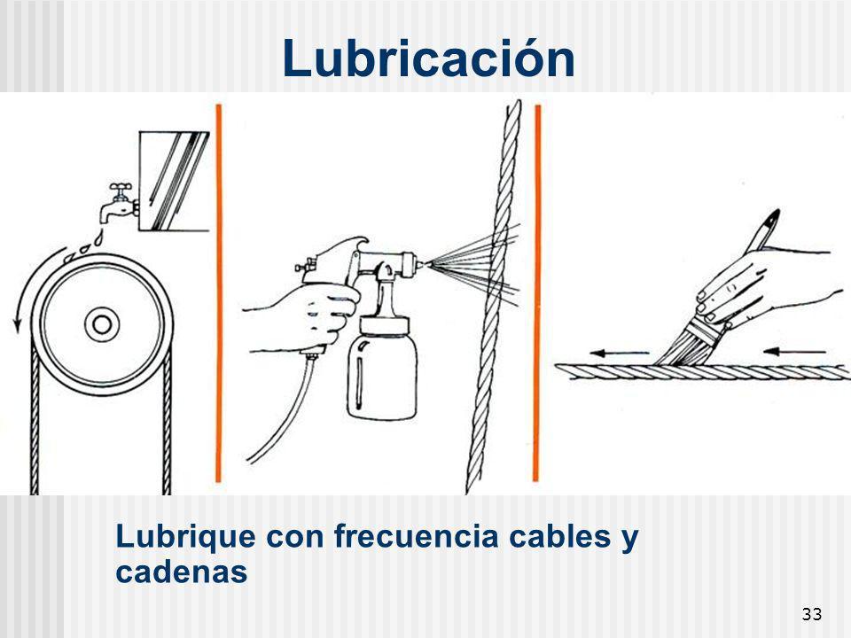 33 Lubricación Lubrique con frecuencia cables y cadenas