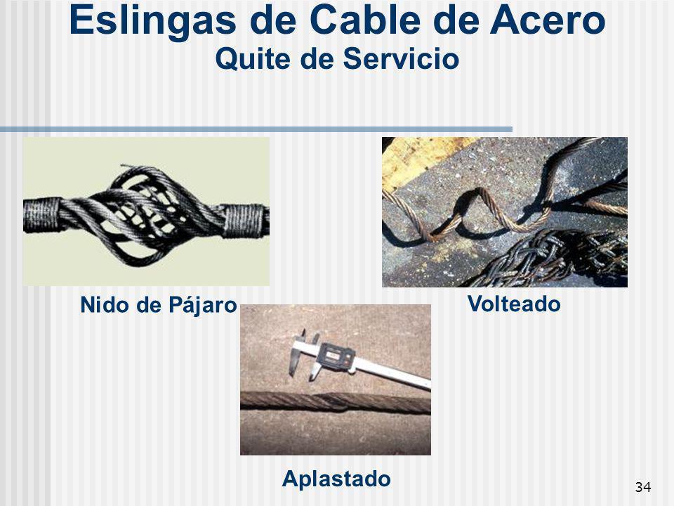 34 Eslingas de Cable de Acero Quite de Servicio Aplastado Volteado Nido de Pájaro