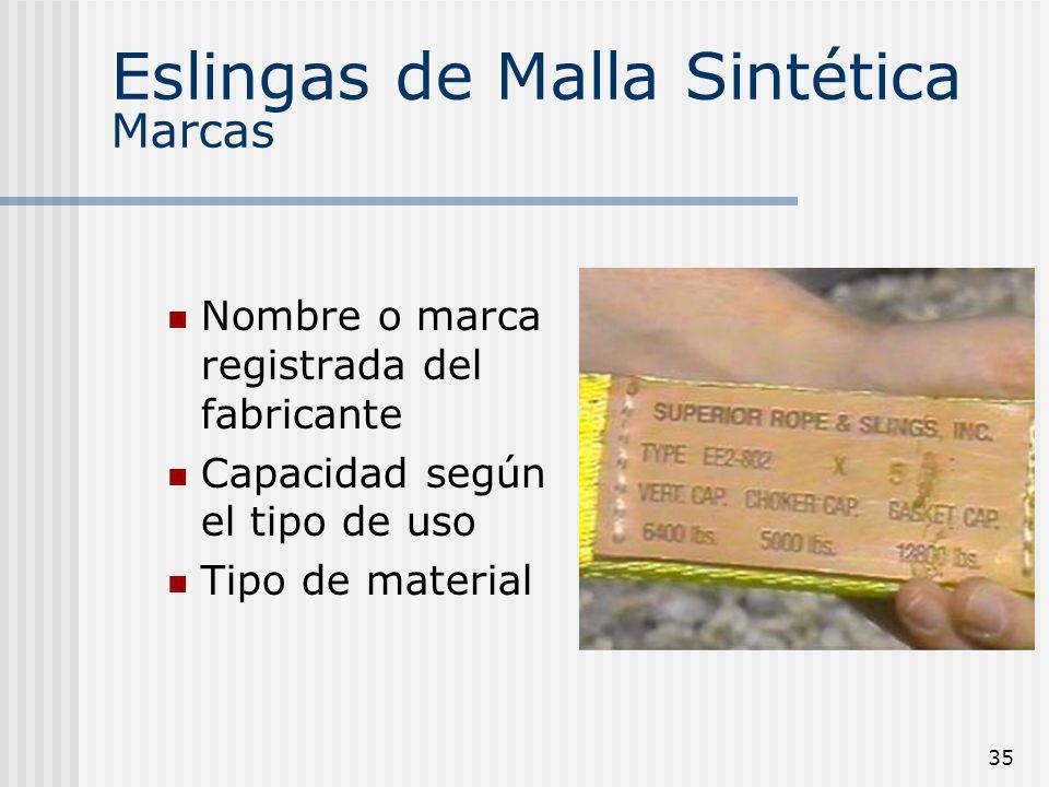 35 Eslingas de Malla Sintética Marcas Nombre o marca registrada del fabricante Capacidad según el tipo de uso Tipo de material