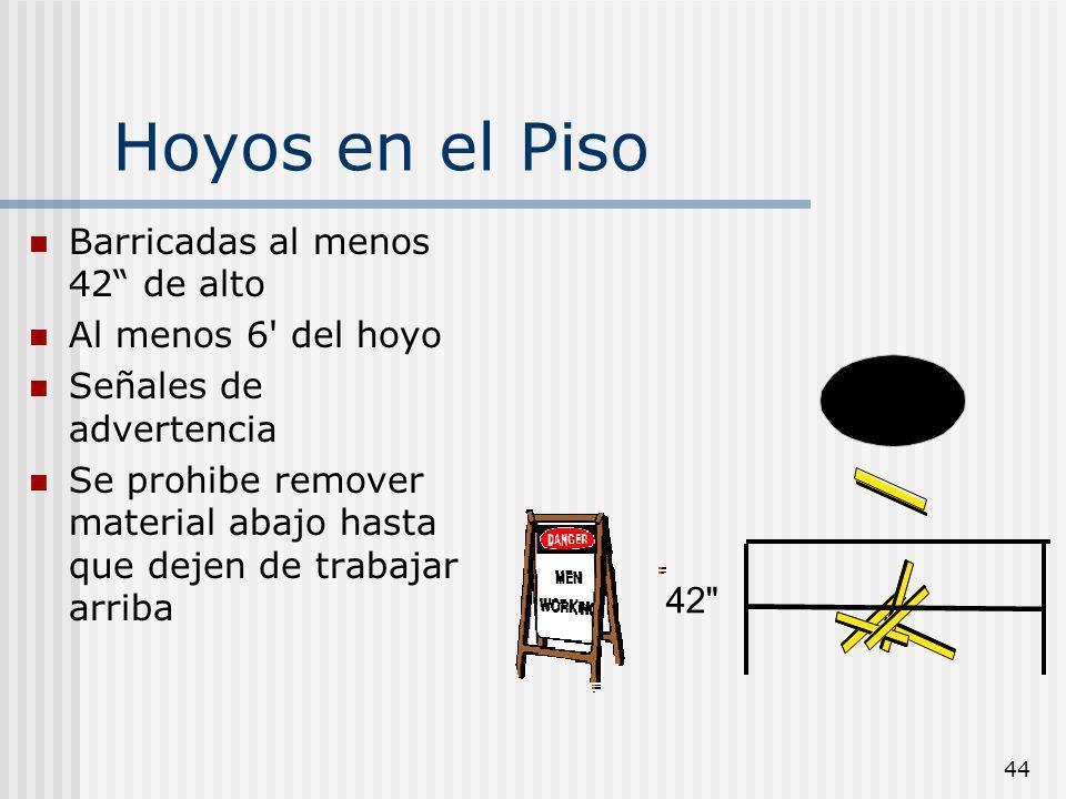 44 Hoyos en el Piso Barricadas al menos 42 de alto Al menos 6' del hoyo Señales de advertencia Se prohibe remover material abajo hasta que dejen de tr