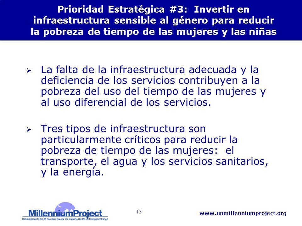 13 www.unmillenniumproject.org Prioridad Estratégica #3: Invertir en infraestructura sensible al género para reducir la pobreza de tiempo de las mujer