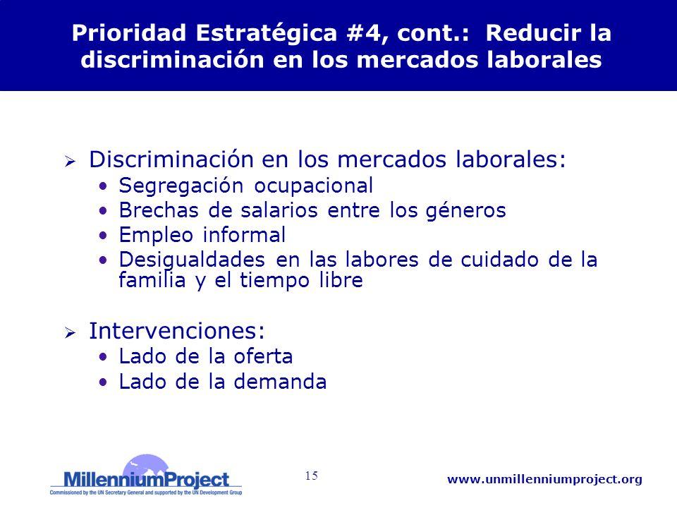 15 www.unmillenniumproject.org Prioridad Estratégica #4, cont.: Reducir la discriminación en los mercados laborales Discriminación en los mercados lab