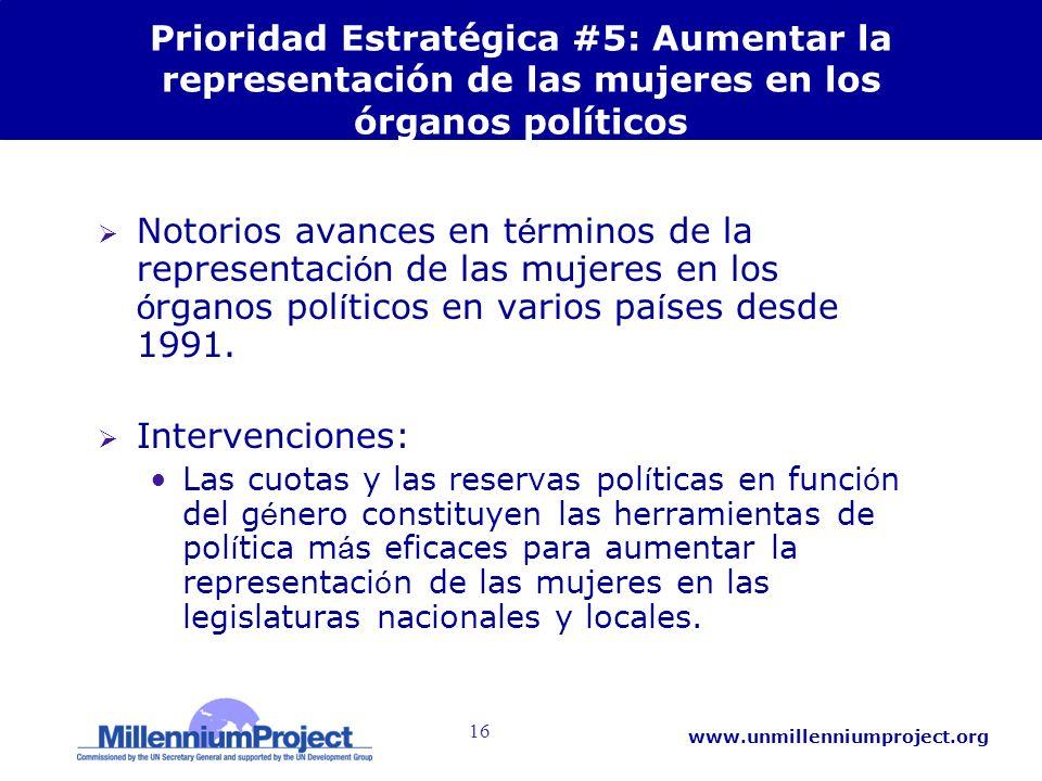 16 www.unmillenniumproject.org Prioridad Estratégica #5: Aumentar la representación de las mujeres en los órganos políticos Notorios avances en t é rm