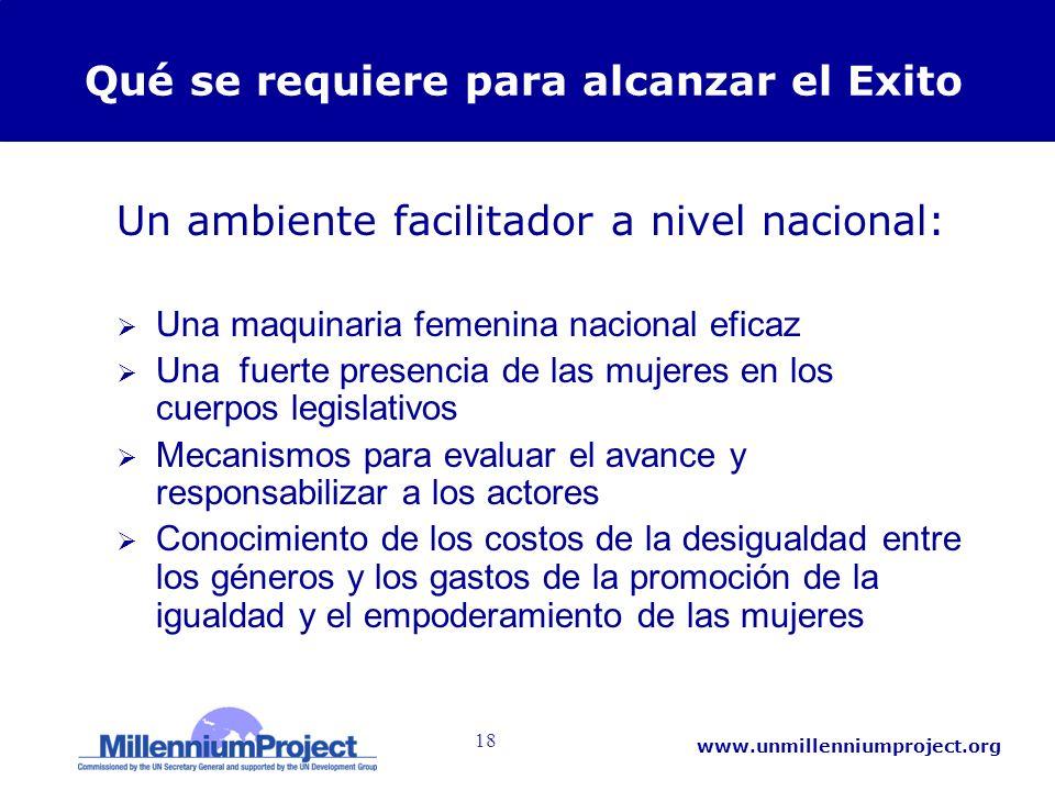 18 www.unmillenniumproject.org Qué se requiere para alcanzar el Exito Un ambiente facilitador a nivel nacional: Una maquinaria femenina nacional efica