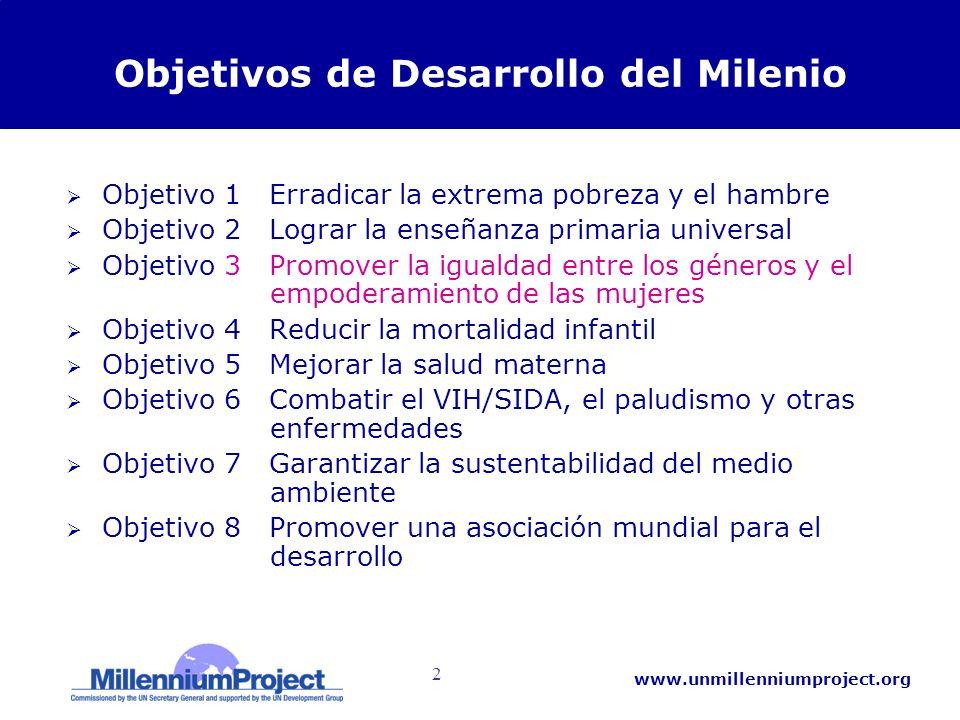 2 www.unmillenniumproject.org Objetivos de Desarrollo del Milenio Objetivo 1 Erradicar la extrema pobreza y el hambre Objetivo 2 Lograr la enseñanza p