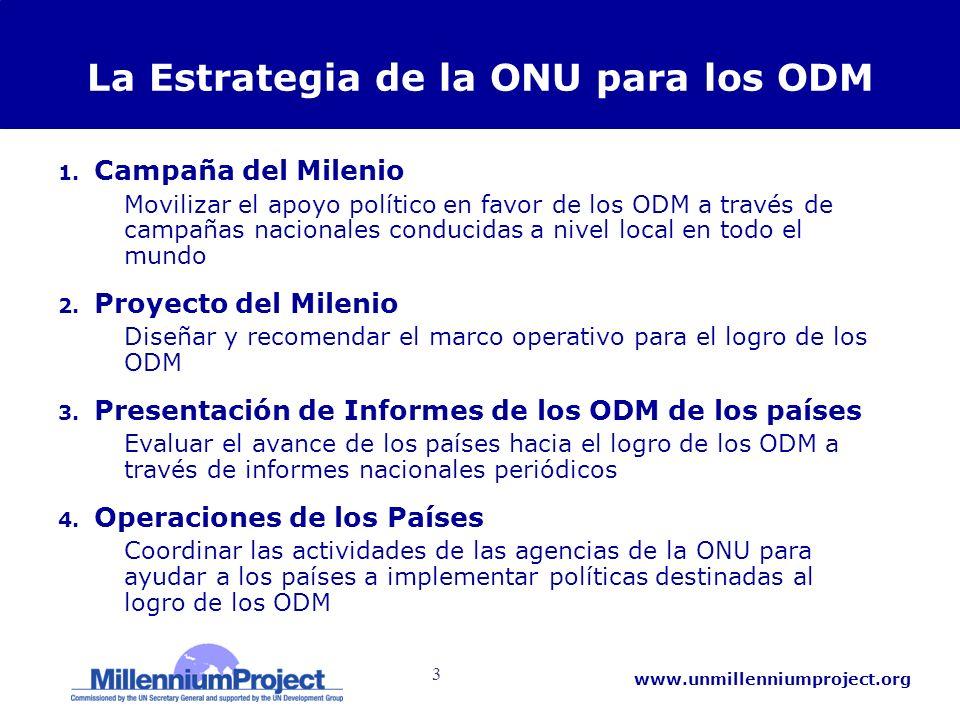 3 www.unmillenniumproject.org La Estrategia de la ONU para los ODM 1. Campaña del Milenio Movilizar el apoyo político en favor de los ODM a través de