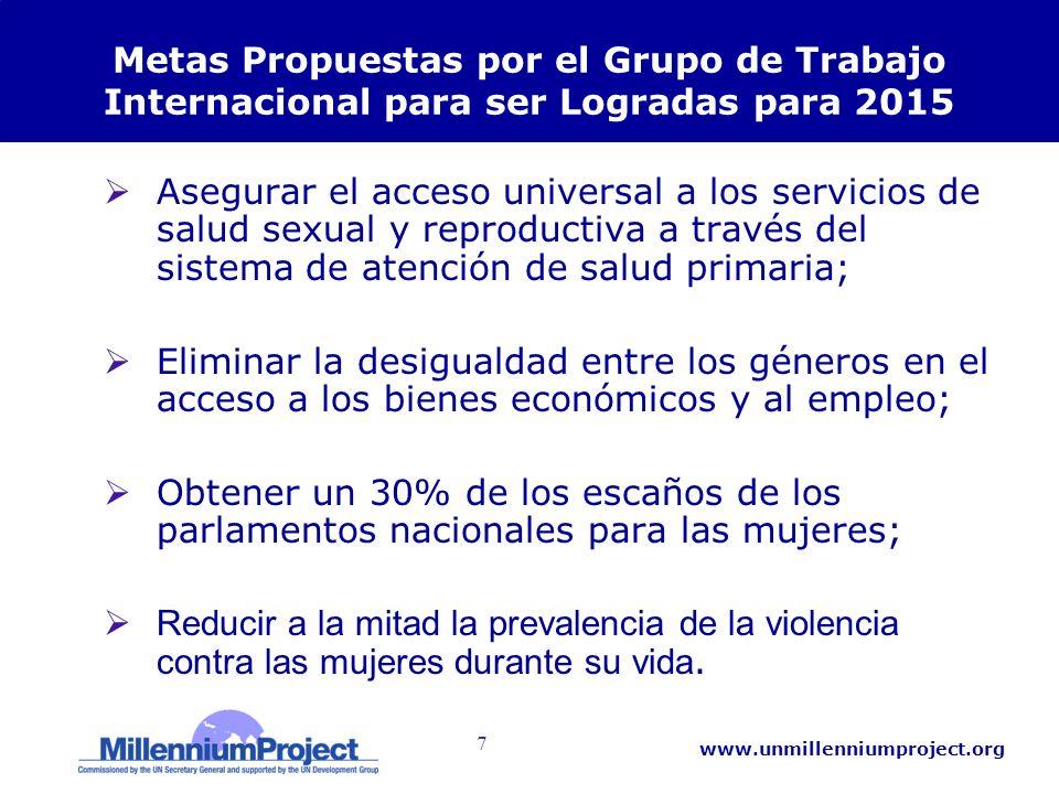7 www.unmillenniumproject.org Metas Propuestas por el Grupo de Trabajo Internacional para ser Logradas para 2015 Asegurar el acceso universal a los se