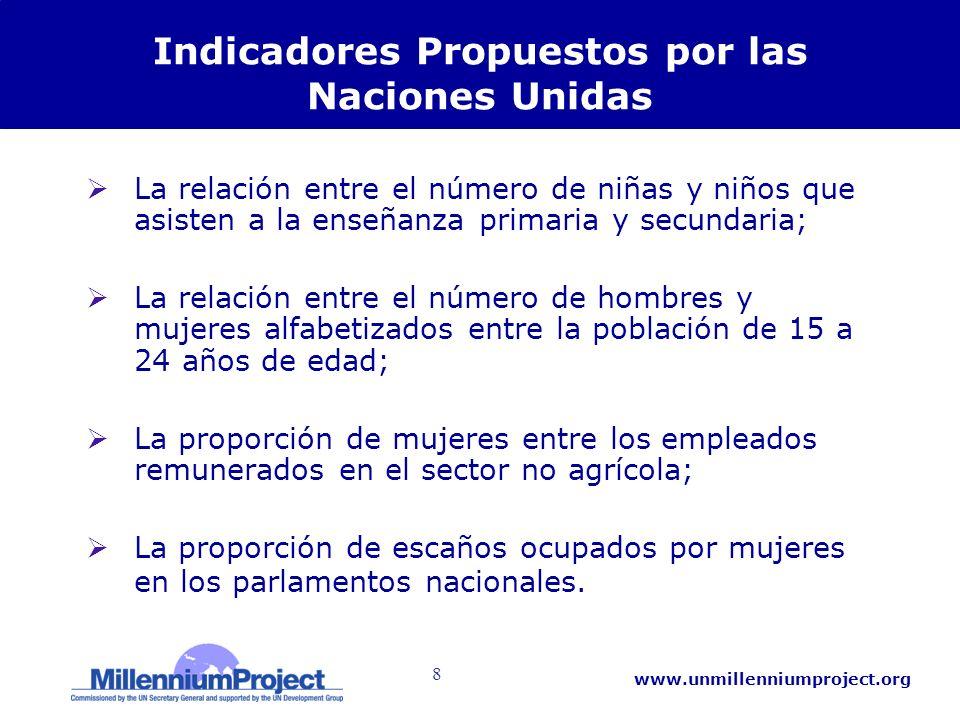 8 www.unmillenniumproject.org Indicadores Propuestos por las Naciones Unidas La relación entre el número de niñas y niños que asisten a la enseñanza p