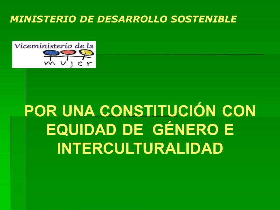MINISTERIO DE DESARROLLO SOSTENIBLE POR UNA CONSTITUCIÓN CON EQUIDAD DE GÉNERO E INTERCULTURALIDAD