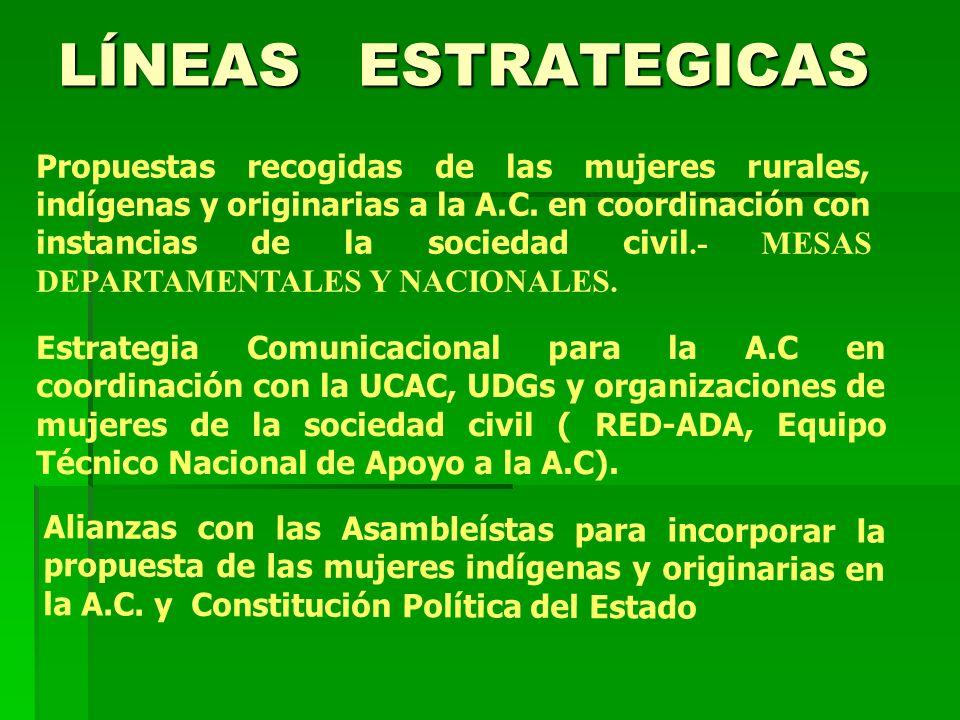 Propuestas recogidas de las mujeres rurales, indígenas y originarias a la A.C. en coordinación con instancias de la sociedad civil.- MESAS DEPARTAMENT