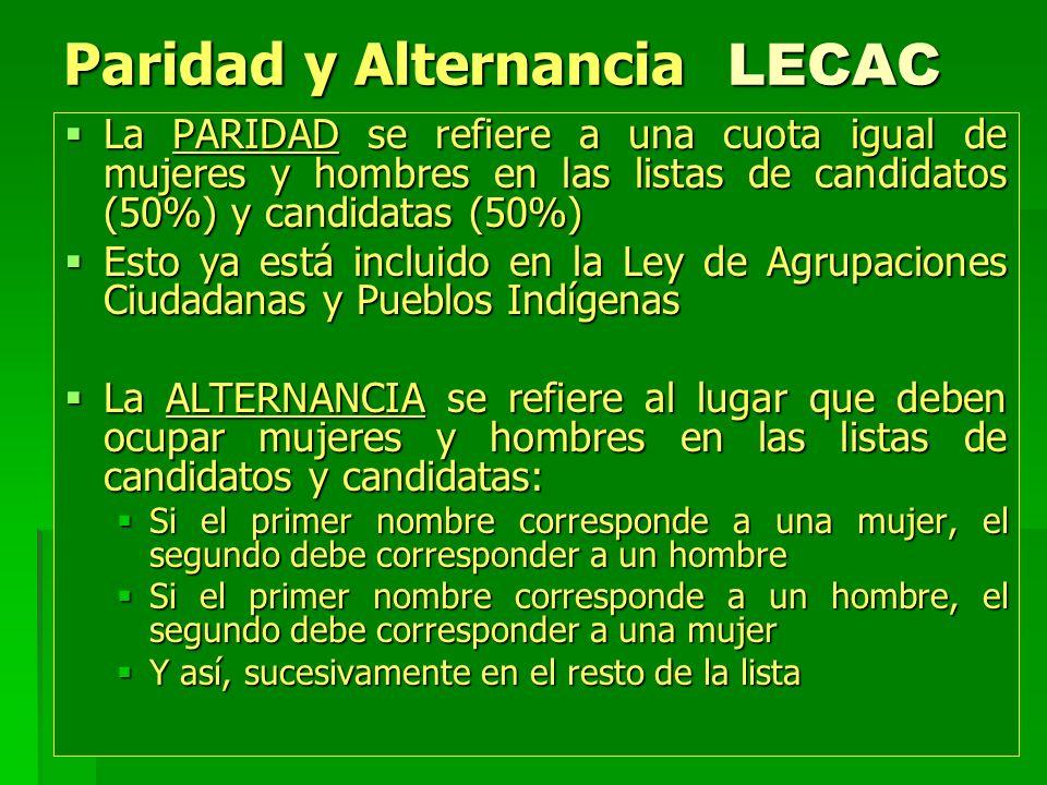 Paridad y Alternancia LECAC La PARIDAD se refiere a una cuota igual de mujeres y hombres en las listas de candidatos (50%) y candidatas (50%) La PARID