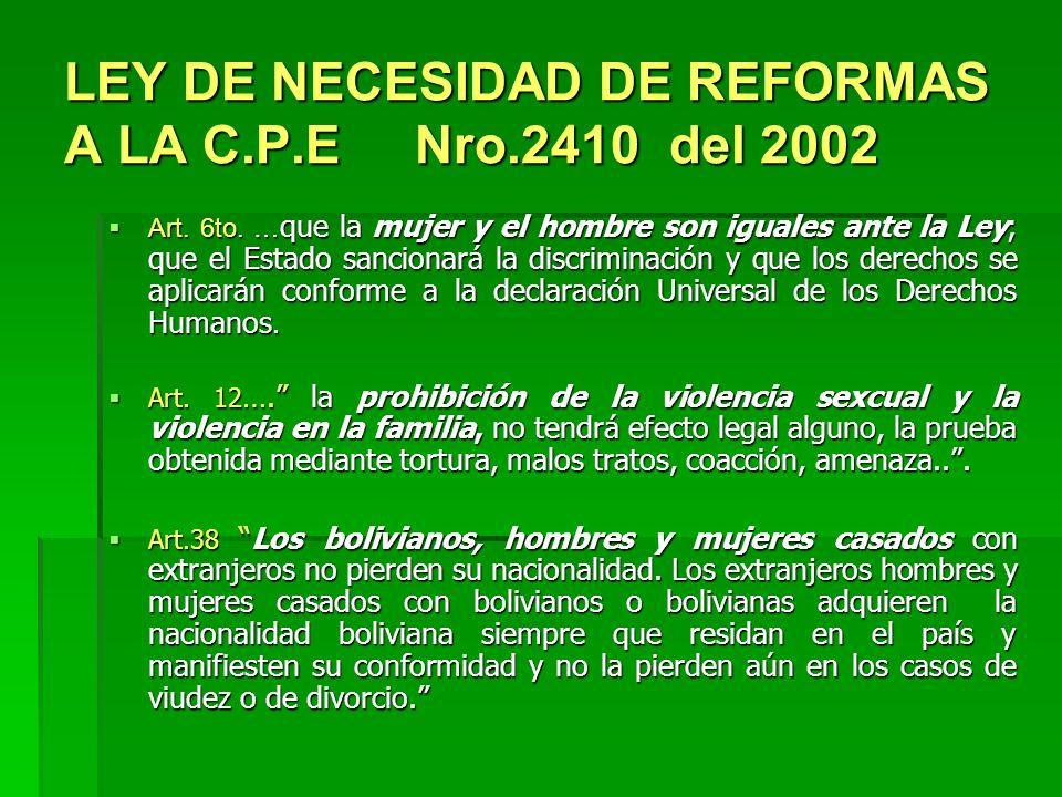 LEY DE NECESIDAD DE REFORMAS A LA C.P.E Nro.2410 del 2002 Art. 6to. … que la mujer y el hombre son iguales ante la Ley; que el Estado sancionará la di