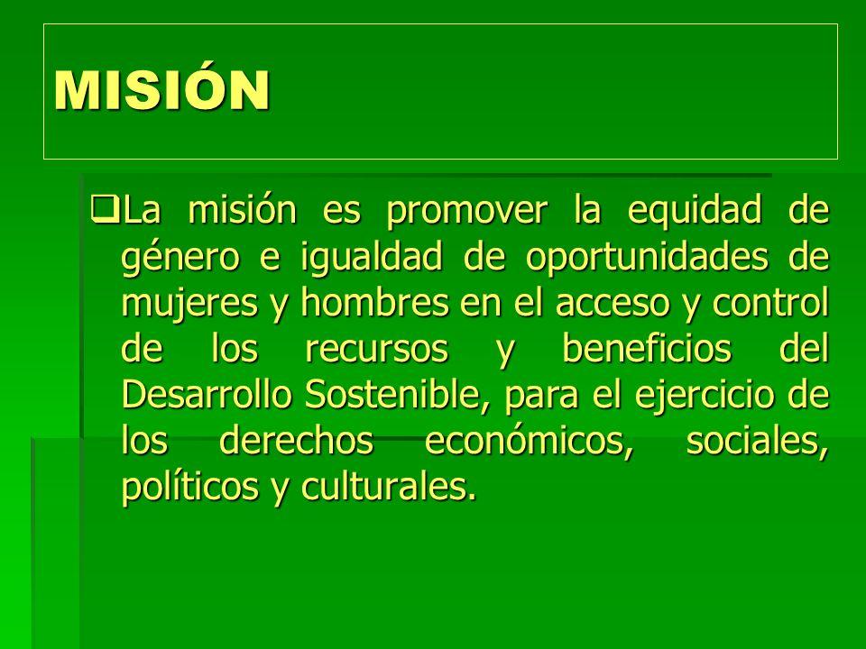MISIÓN La misión es promover la equidad de género e igualdad de oportunidades de mujeres y hombres en el acceso y control de los recursos y beneficios del Desarrollo Sostenible, para el ejercicio de los derechos económicos, sociales, políticos y culturales.