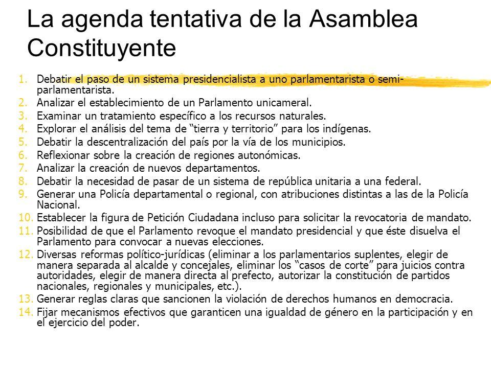 La agenda tentativa de la Asamblea Constituyente 1.Debatir el paso de un sistema presidencialista a uno parlamentarista o semi- parlamentarista.