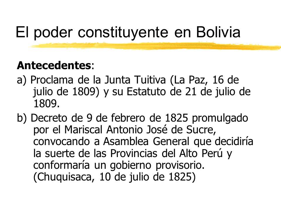 El poder constituyente en Bolivia Antecedentes: a) Proclama de la Junta Tuitiva (La Paz, 16 de julio de 1809) y su Estatuto de 21 de julio de 1809.