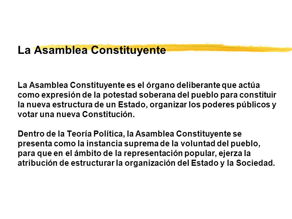 La Asamblea Constituyente La Asamblea Constituyente es el órgano deliberante que actúa como expresión de la potestad soberana del pueblo para constituir la nueva estructura de un Estado, organizar los poderes públicos y votar una nueva Constitución.