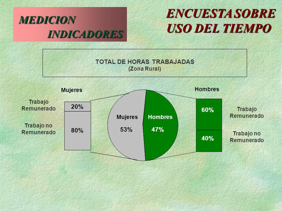20% 80% 53%47% 60% 40% MujeresHombres Mujeres Hombres TOTAL DE HORAS TRABAJADAS (Zona Rural) Trabajo Remunerado Trabajo Remunerado Trabajo no Remunera