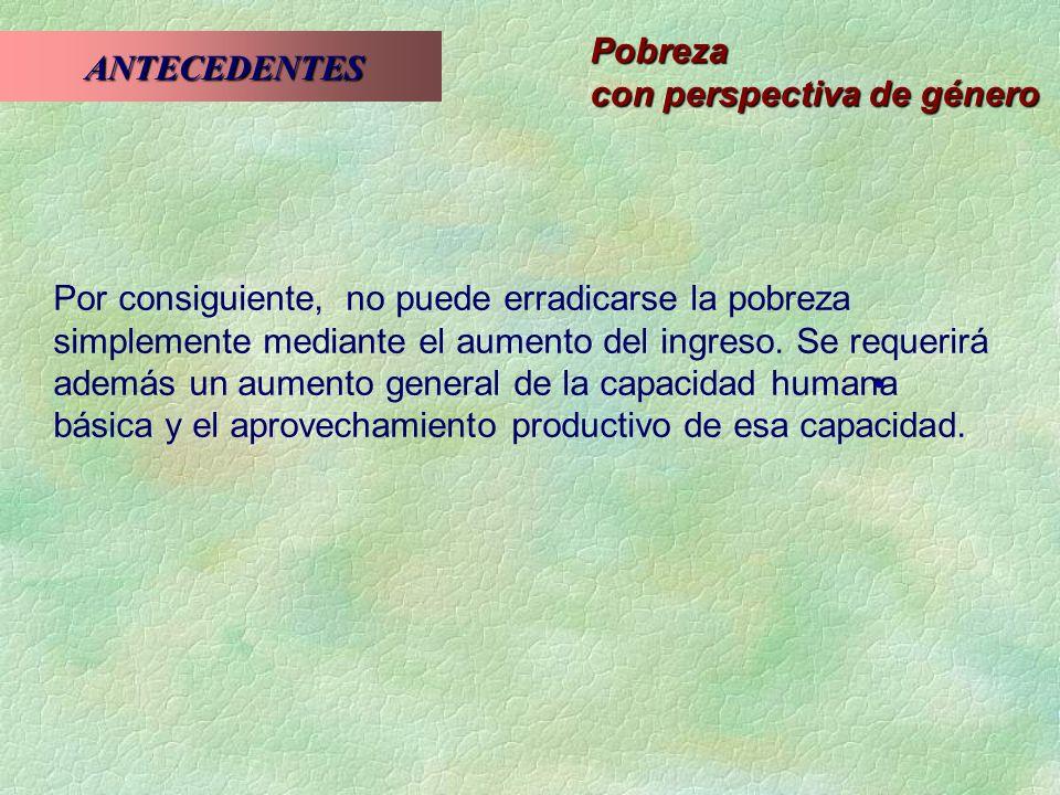 Pobreza con perspectiva de género ANTECEDENTES ANTECEDENTES Capacidad básica El desarrollo humano se define como ampliación de la capacidad.