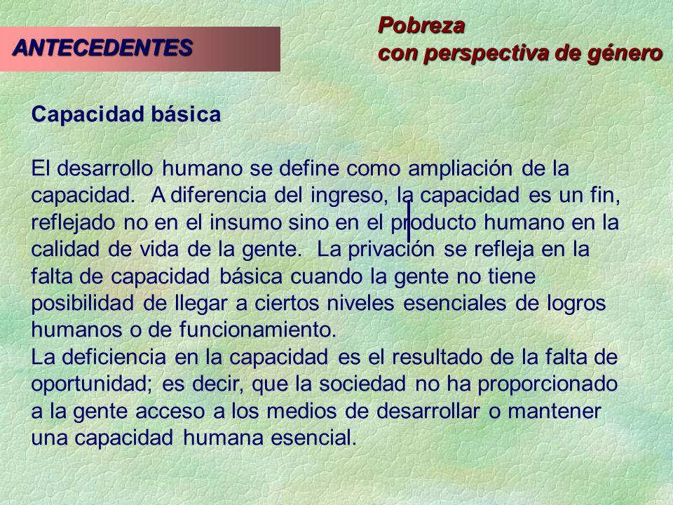 Pobreza con perspectiva de género ANTECEDENTES ANTECEDENTES Capacidad básica El desarrollo humano se define como ampliación de la capacidad. A diferen