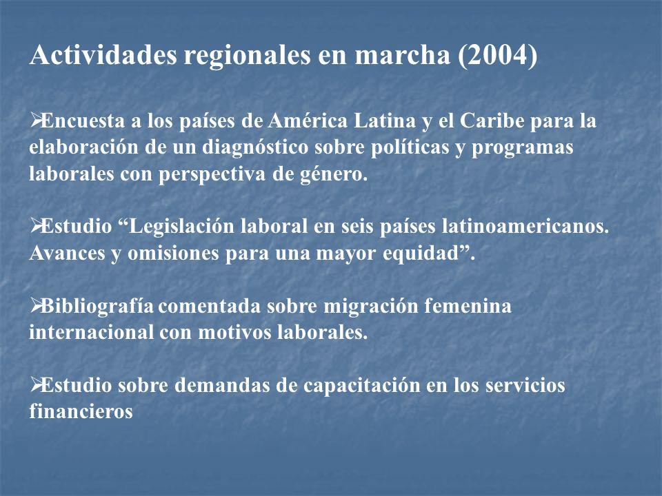Actividades regionales en marcha (2004) Encuesta a los países de América Latina y el Caribe para la elaboración de un diagnóstico sobre políticas y pr