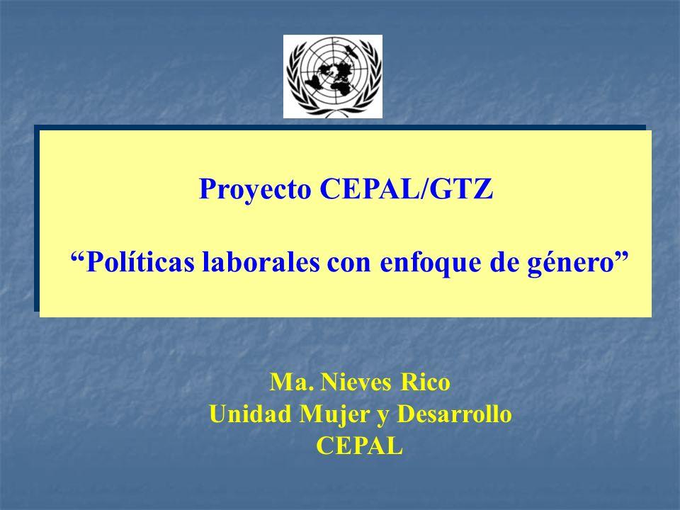 Proyecto CEPAL/GTZ Políticas laborales con enfoque de género Proyecto CEPAL/GTZ Políticas laborales con enfoque de género Ma. Nieves Rico Unidad Mujer