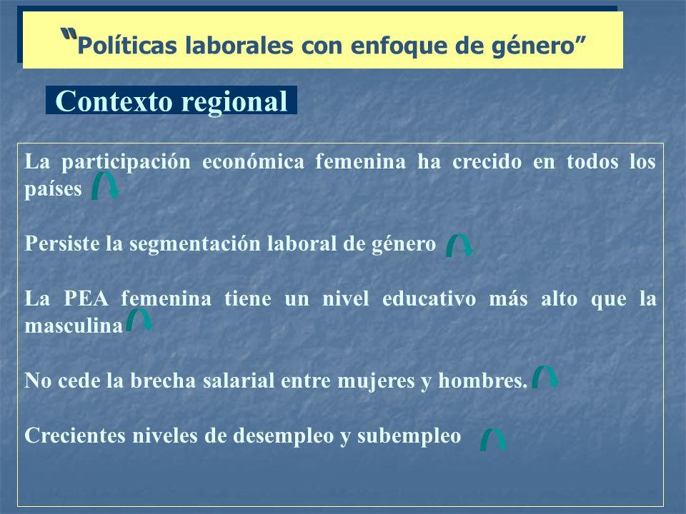 Políticas laborales con enfoque de género La participación económica femenina ha crecido en todos los países Persiste la segmentación laboral de géner
