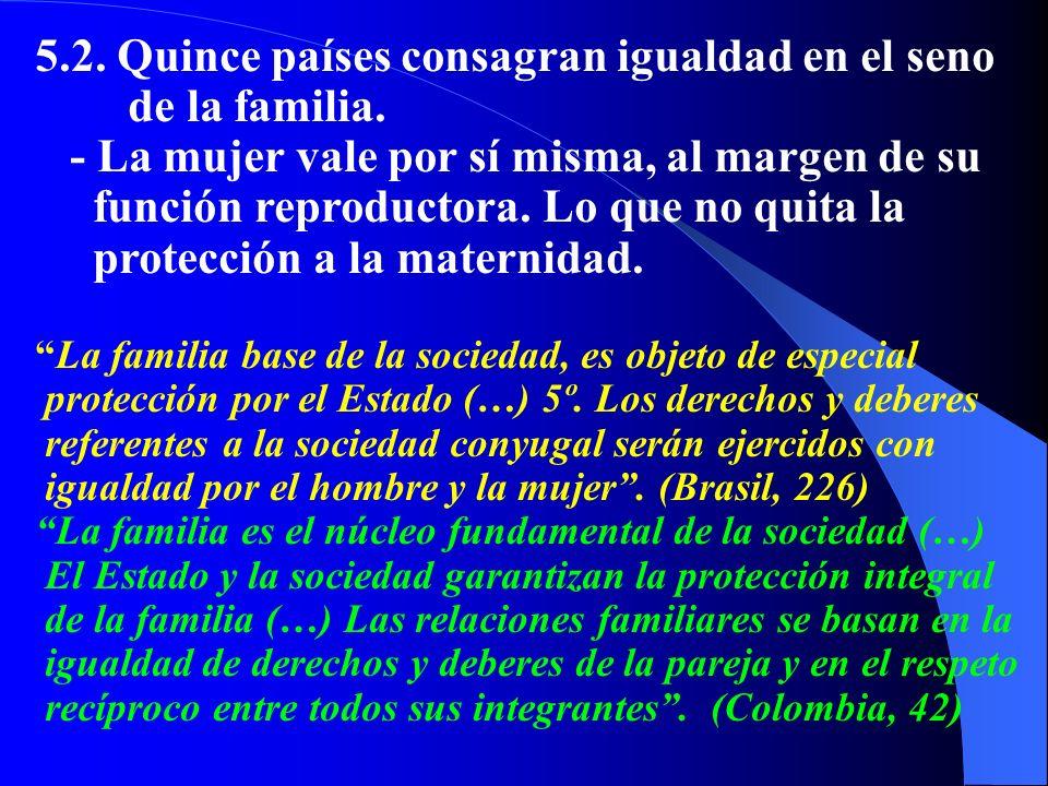 5.2. Quince países consagran igualdad en el seno de la familia. - La mujer vale por sí misma, al margen de su función reproductora. Lo que no quita la