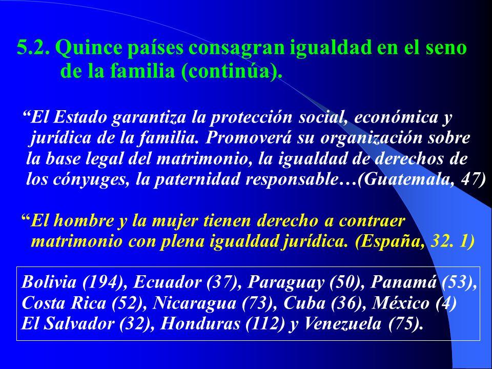 5.2. Quince países consagran igualdad en el seno de la familia (continúa). El Estado garantiza la protección social, económica y jurídica de la famili