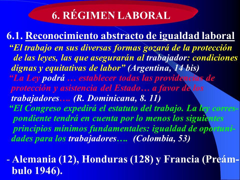 6. RÉGIMEN LABORAL 6.1. Reconocimiento abstracto de igualdad laboral El trabajo en sus diversas formas gozará de la protección de las leyes, las que a