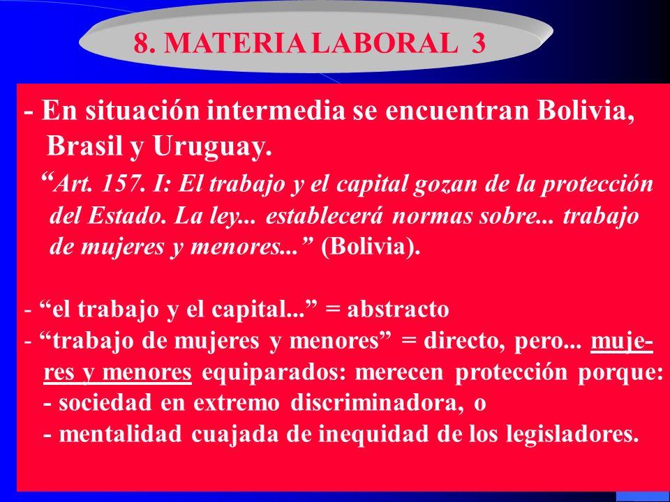 8. MATERIA LABORAL 3 - En situación intermedia se encuentran Bolivia, Brasil y Uruguay. Art. 157. I: El trabajo y el capital gozan de la protección de