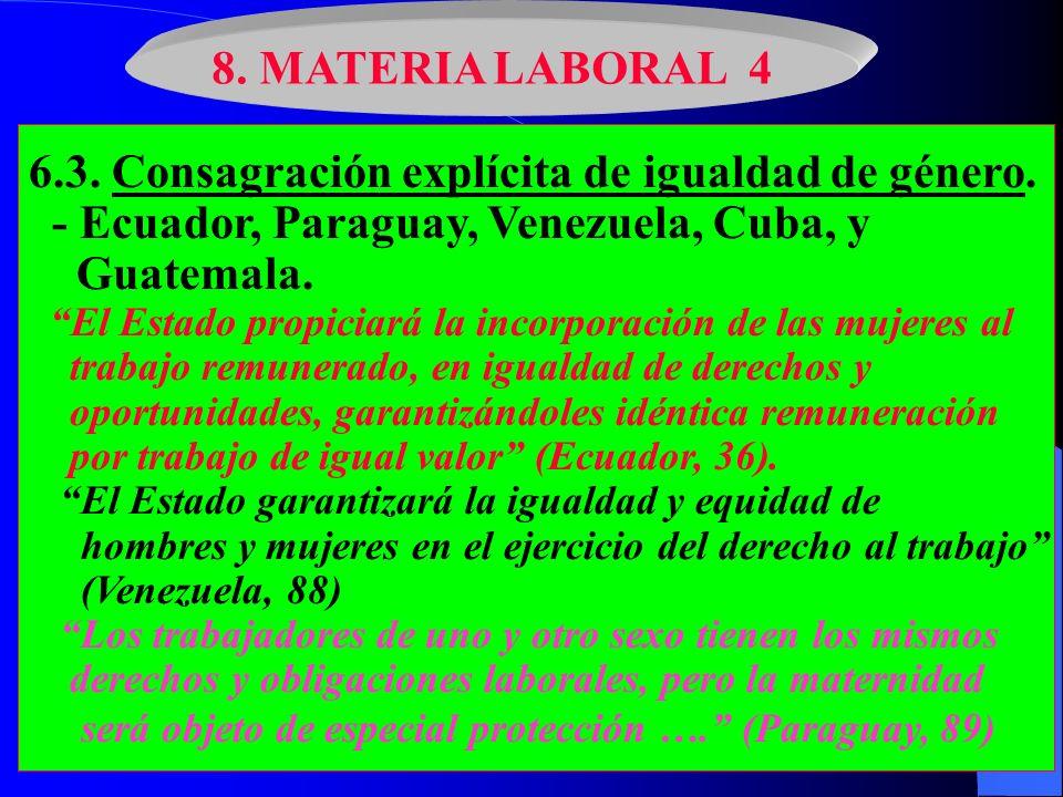 8. MATERIA LABORAL 4 6.3. Consagración explícita de igualdad de género. - Ecuador, Paraguay, Venezuela, Cuba, y Guatemala. El Estado propiciará la inc