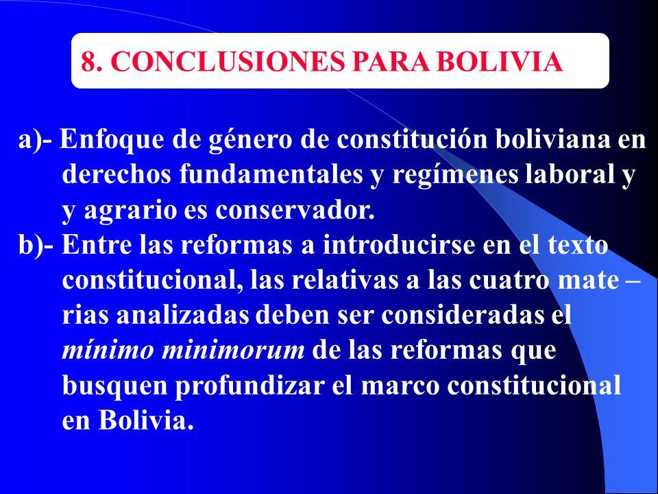 8. CONCLUSIONES PARA BOLIVIA a)- Enfoque de género de constitución boliviana en derechos fundamentales y regímenes laboral y y agrario es conservador.