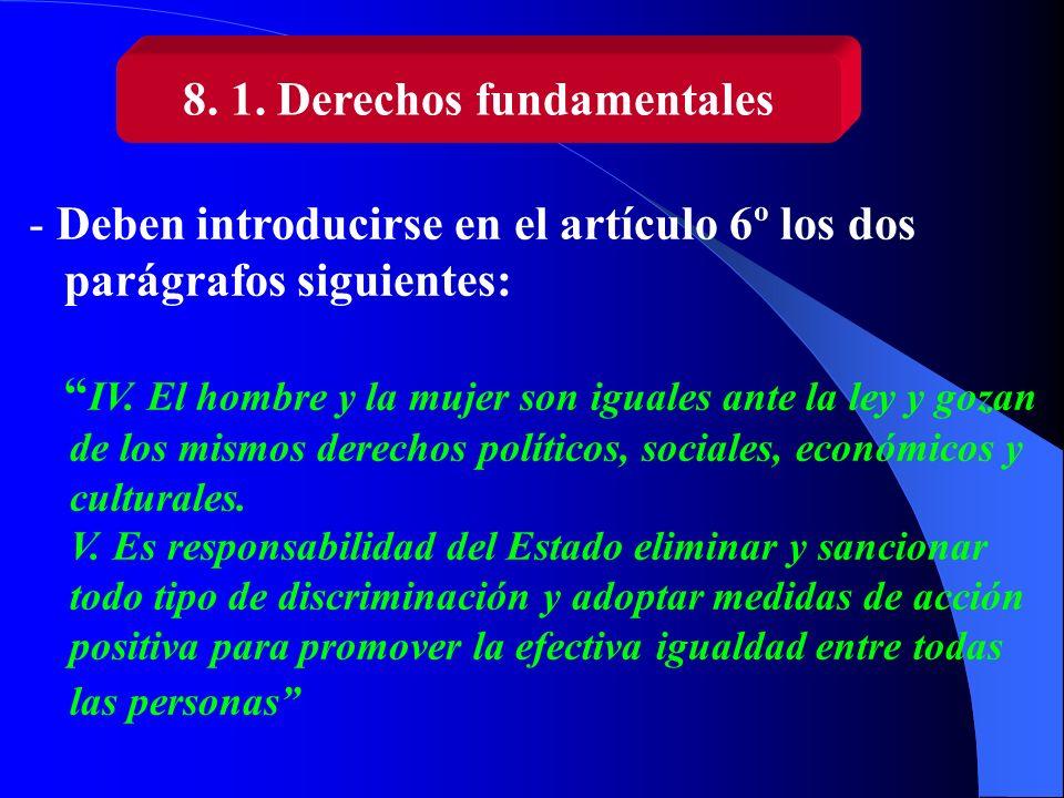 8. 1. Derechos fundamentales - Deben introducirse en el artículo 6º los dos parágrafos siguientes: IV. El hombre y la mujer son iguales ante la ley y
