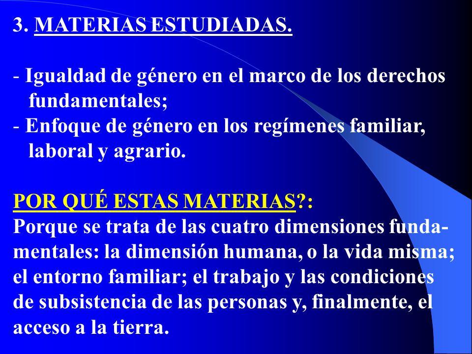 3. MATERIAS ESTUDIADAS. - Igualdad de género en el marco de los derechos fundamentales; - Enfoque de género en los regímenes familiar, laboral y agrar