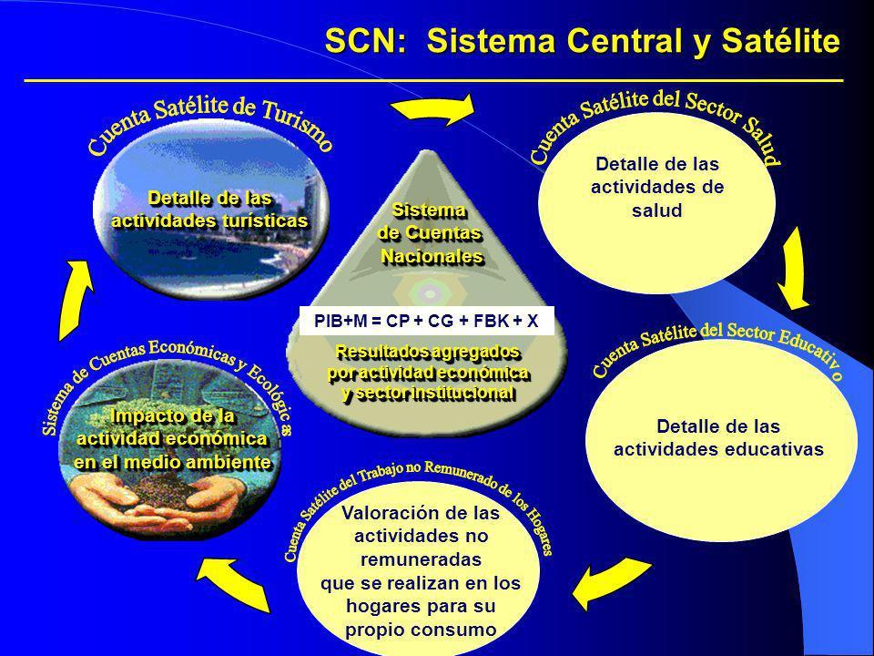 Sistema de Cuentas NacionalesSistema Nacionales Resultados agregados por actividad económica y sector institucional SCN: Sistema Central y Satélite De