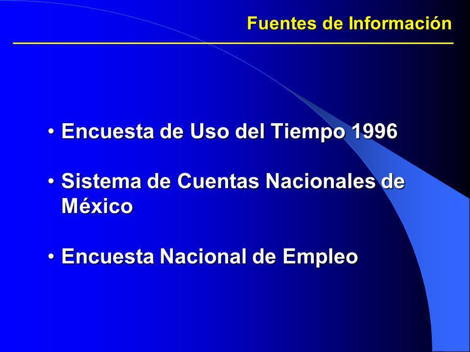 Fuentes de Información Encuesta de Uso del Tiempo 1996Encuesta de Uso del Tiempo 1996 Sistema de Cuentas Nacionales de MéxicoSistema de Cuentas Nacion