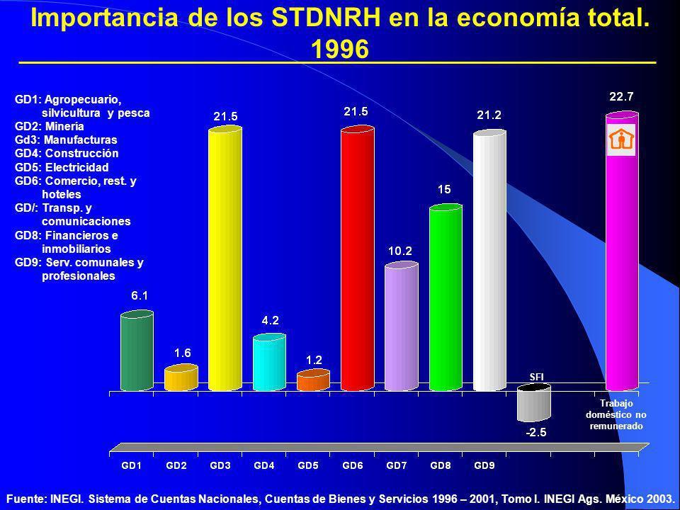 Importancia de los STDNRH en la economía total. 1996 Trabajo doméstico no remunerado Fuente: INEGI. Sistema de Cuentas Nacionales, Cuentas de Bienes y