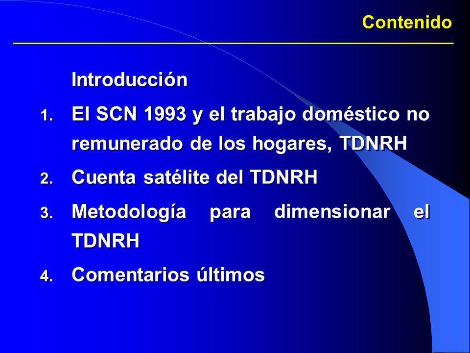 Contenido Introducción 1. El SCN 1993 y el trabajo doméstico no remunerado de los hogares, TDNRH 2. Cuenta satélite del TDNRH 3. Metodología para dime