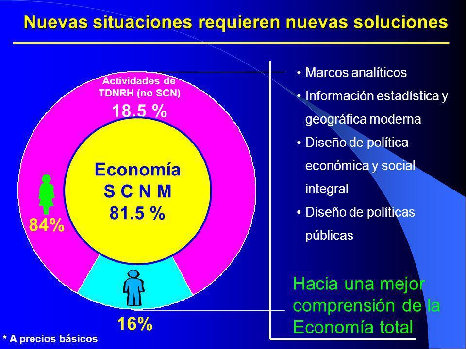 Actividades de TDNRH (no SCN) 18.5 % 84% 16% Nuevas situaciones requieren nuevas soluciones Economía S C N M 81.5 % Marcos analíticos Información esta