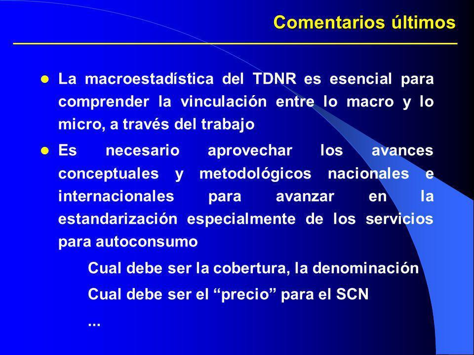 Comentarios últimos La macroestadística del TDNR es esencial para comprender la vinculación entre lo macro y lo micro, a través del trabajo Es necesar