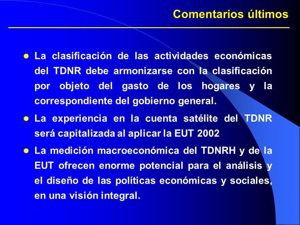 Comentarios últimos La clasificación de las actividades económicas del TDNR debe armonizarse con la clasificación por objeto del gasto de los hogares