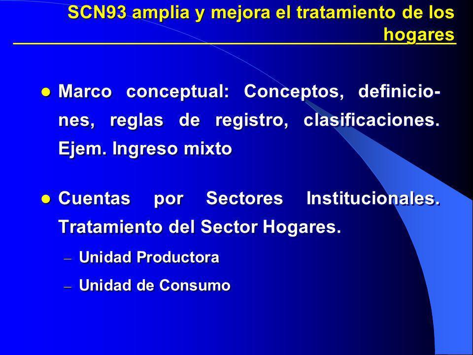 SCN93 amplia y mejora el tratamiento de los hogares Marco conceptual: Conceptos, definicio- nes, reglas de registro, clasificaciones. Ejem. Ingreso mi
