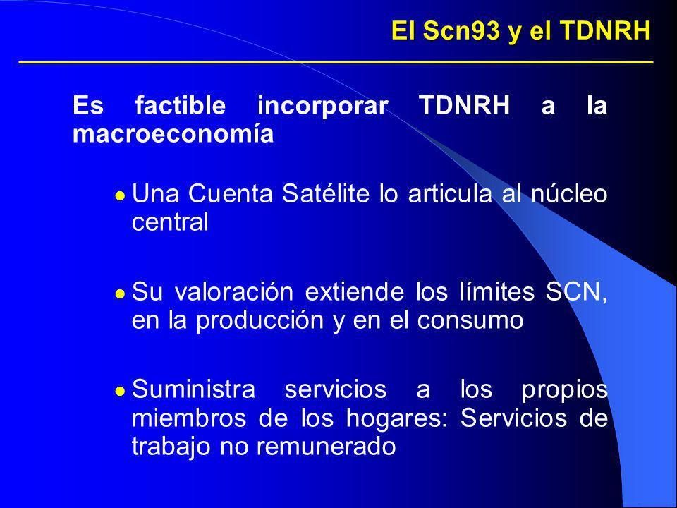 El Scn93 y el TDNRH Es factible incorporar TDNRH a la macroeconomía Una Cuenta Satélite lo articula al núcleo central Su valoración extiende los límit