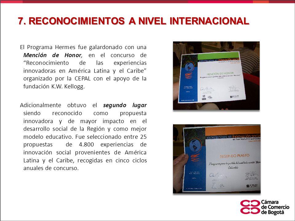 7. RECONOCIMIENTOS A NIVEL INTERNACIONAL El Programa Hermes fue galardonado con una Mención de Honor, en el concurso de Reconocimiento de las experien