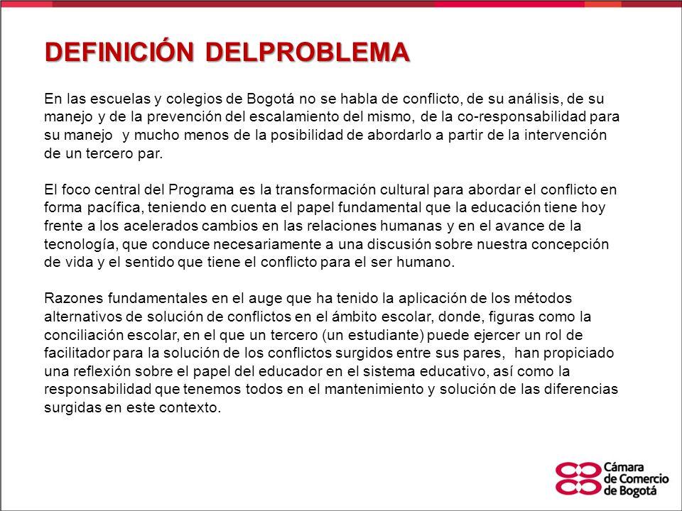En las escuelas y colegios de Bogotá no se habla de conflicto, de su análisis, de su manejo y de la prevención del escalamiento del mismo, de la co-re