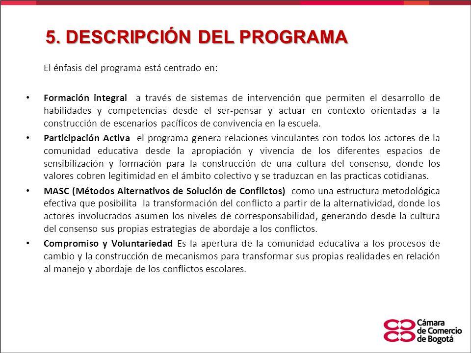 El énfasis del programa está centrado en: Formación integral a través de sistemas de intervención que permiten el desarrollo de habilidades y competen