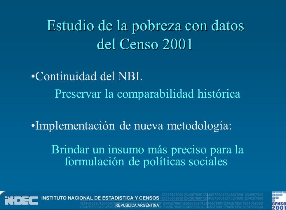 Estudio de la pobreza con datos del Censo 2001 Continuidad del NBI. Preservar la comparabilidad histórica Implementación de nueva metodología: Brindar