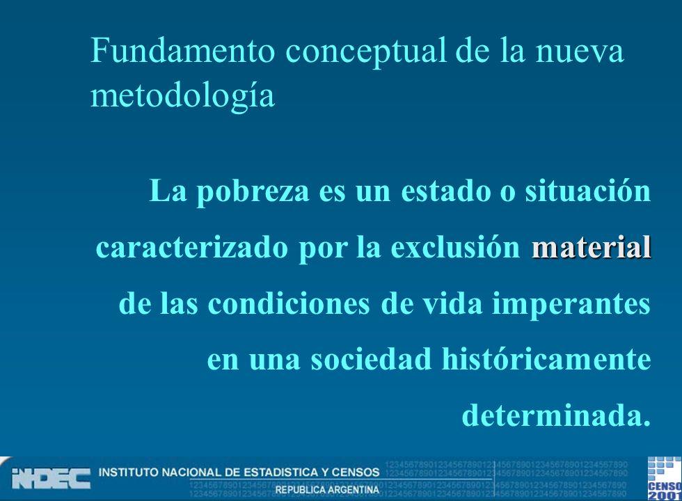 material La pobreza es un estado o situación caracterizado por la exclusión material de las condiciones de vida imperantes en una sociedad históricame